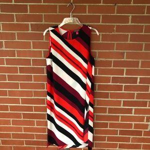 Vince Camuto Diagonal Striped Midi Dress Slits
